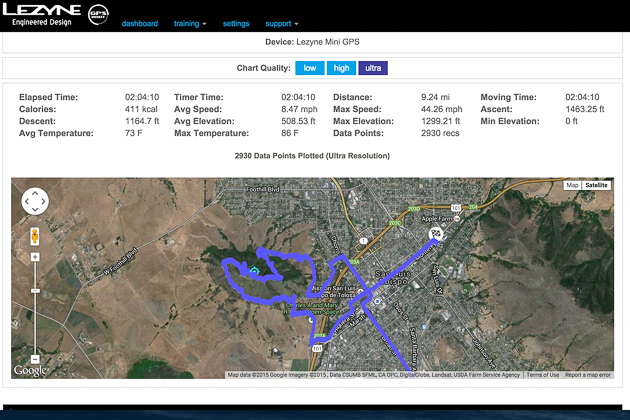 The ride track is overlaid on a Google map, with all pertinent data listed above.