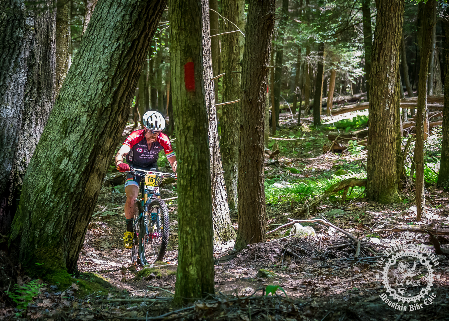 Tristan Uhl (Competitive Cyclist) picks his way through some tight, raw singletrack.