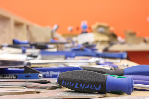 Brand spanking new: many of the shop's Park Tools are just getting pulled out of their boxes. Kona plans on opening the new store in June.