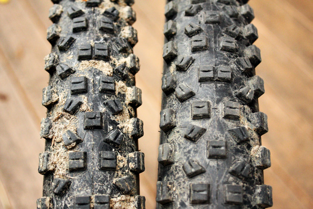 The same tire looks very different when you add 9 millimeters of internal rim width. On the left, an Easton Haven. On the right, the new Heist rim.