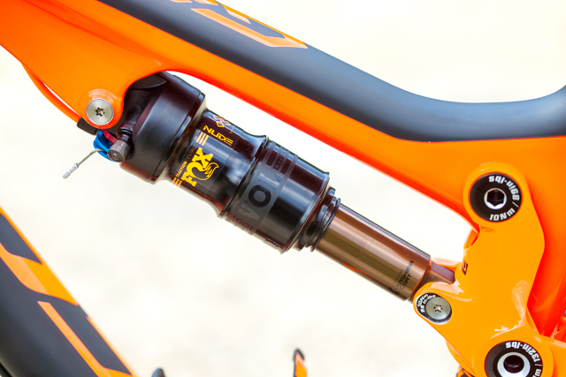 The new FOX NUDE rear shock with the EVOL air can.