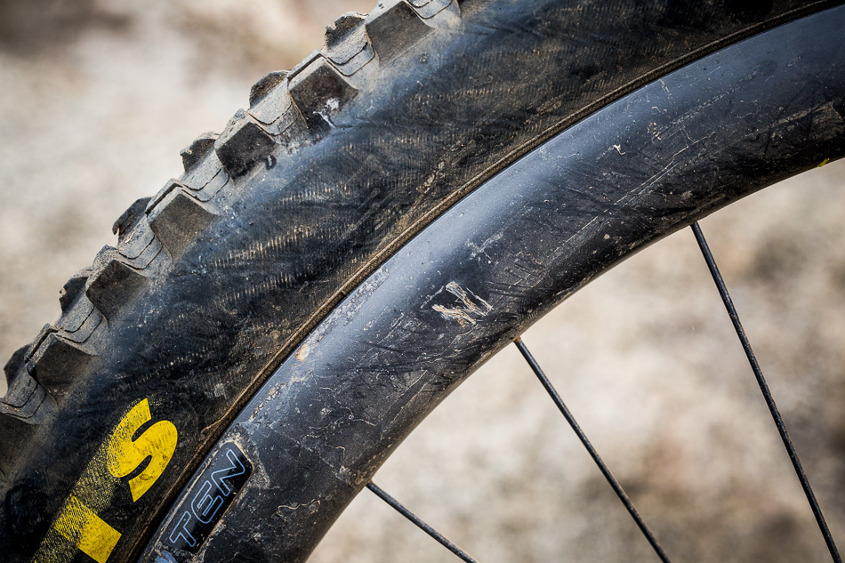 The puncture wound was localized, and I continued to ride the damaged rim for months with no noticeable change in performance.