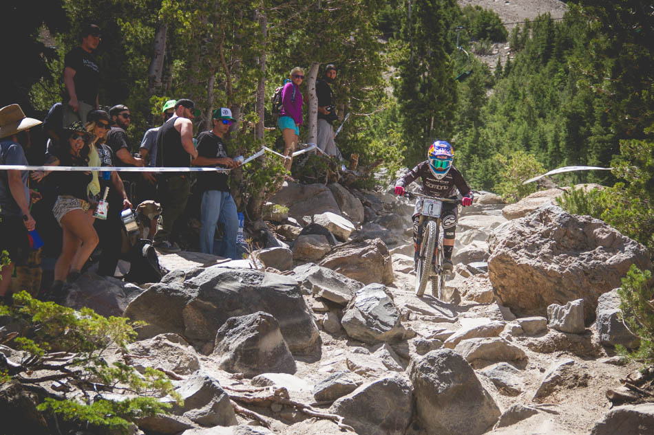 Jill Kintner makes short work of the gnarly rocks.