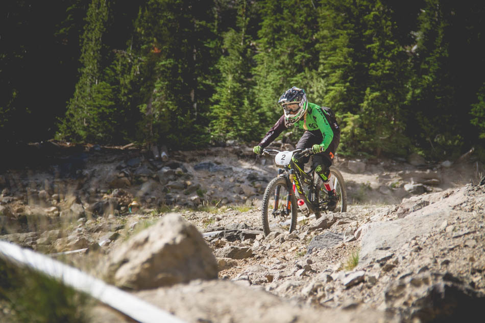 The enduro course skipped the big rock garden on Run 1 that was in the pro downhill race Saturday, and elected to use the longer ride around. Even though it wasn't filled with large boulders, the alternate route was steep and very loose. Lauren Gregg looked in control through this section, and was nipping at the heals of the leaders all morning, finishing third in the pro women's.