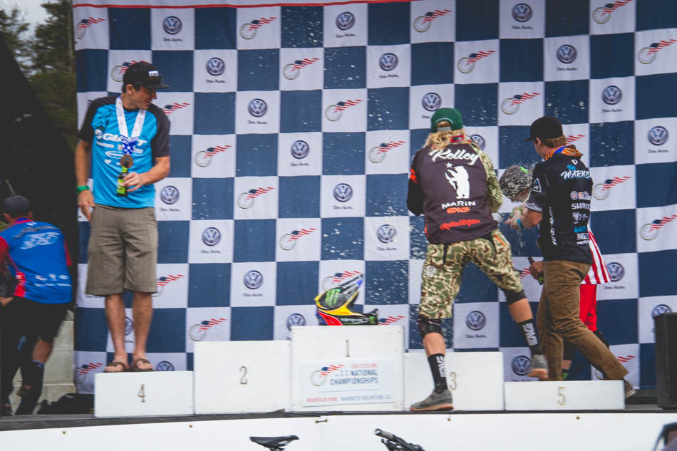 The men's podium broke up rather quickly as Cody Kelley and Kyle Warner decided to attack Mitch Ropelato with their victor Sierra Nevada's. Brian Lopes fled the scene rather quickly to avoid the foaming alcohol, but Adam Craig stayed to watch the entertainment.