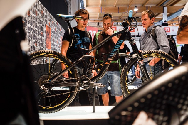 Fabien Barel's EWS-winning bike drew plenty of onlookers at the Canyon booth during the recent Eurobike tradeshow.