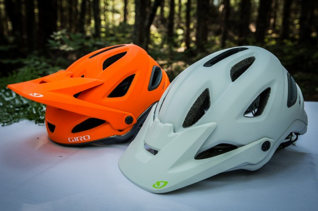 The Montaro (background) and Montara shown in two of a total of 11 different color options. The visor lift allows room for goggles to rest easily.