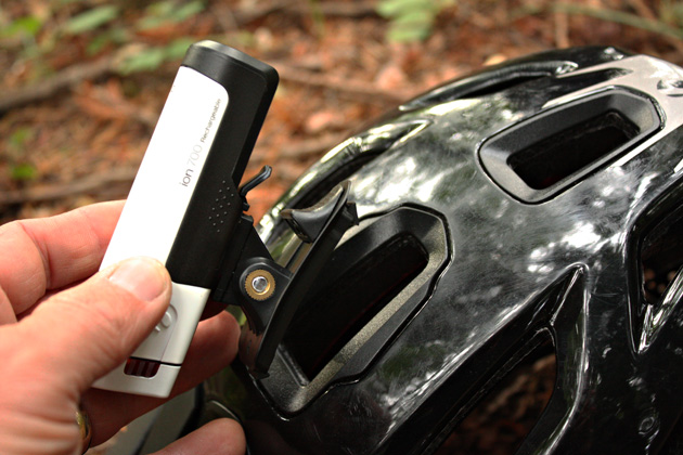 """Bontrager's """"Blendr"""" attachment system makes it a breeze to snap a POV camera or Bontrager light into place. Very cool."""