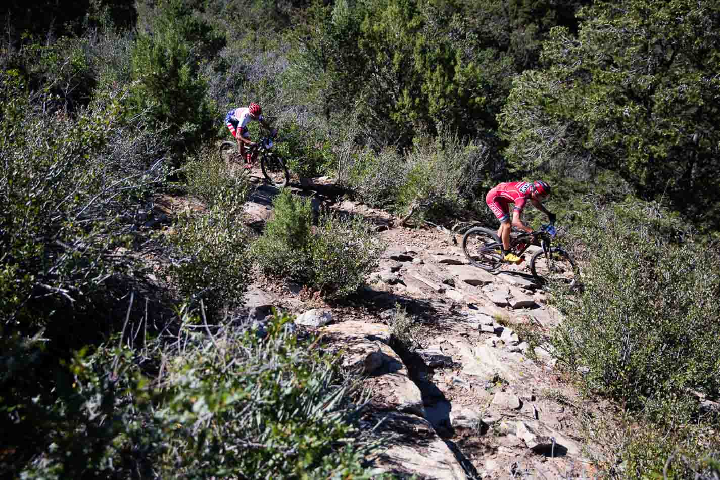 Todd and Troy Wells crushing it on the descent of the Anasazi Trail.