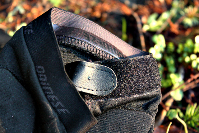 Silicone grippers and velcro closures are designed to keep the Trail Skins from creeping down your calf and turning into useless ankle warmers.