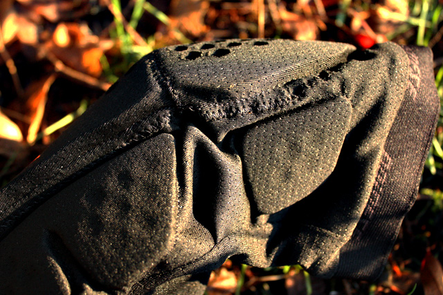 The Trail Skins also feature a bit of padding to keep the sides of your knees from getting all mashed up--not a ton of padding here, but the weather has gone to shite, so we'll get a good sense of how much protection they actually afford. Hello, mud and roots...