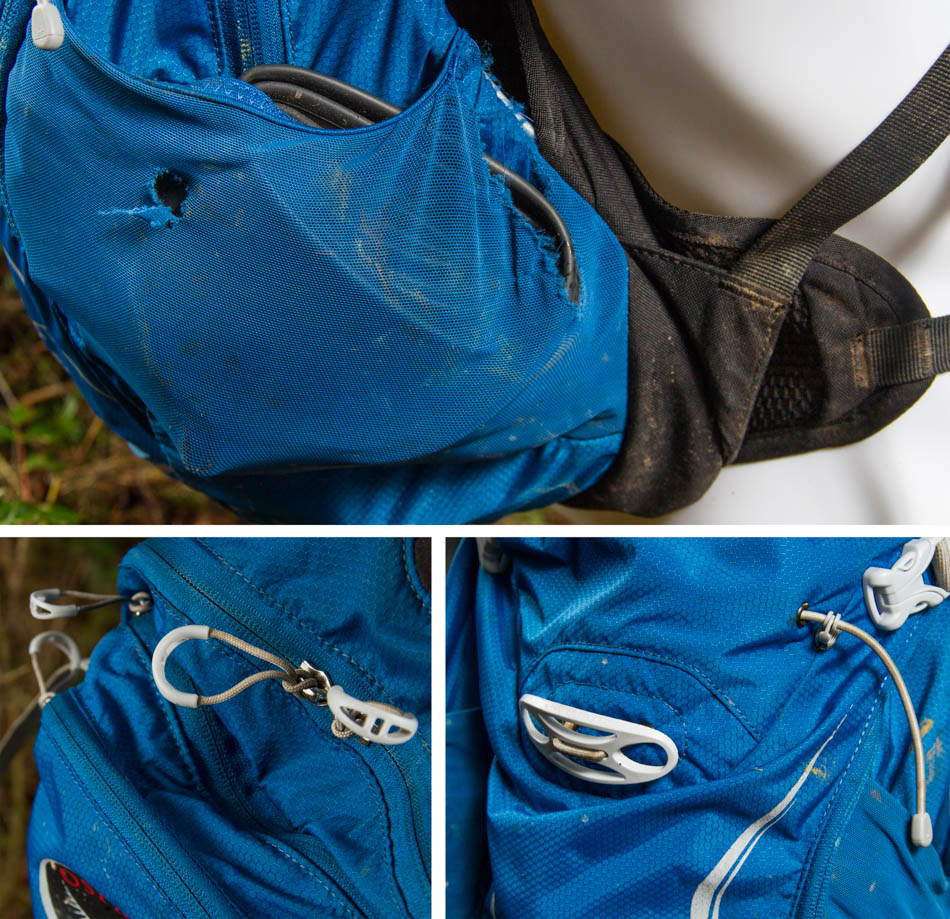The outside stuff pouches are great for things like extra tubes, but a good impact with a tree might do some damage. Luckily this is covered under Osprey's amazing warranty. Big pull tabs make opening the zippers easy even with gloves, and Osprey's LidLock system is one of the best helmet retention systems on the market.