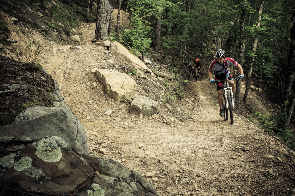 Richie Daigle and Cody Wallis on Racoon Mountain's High Voltage trail.