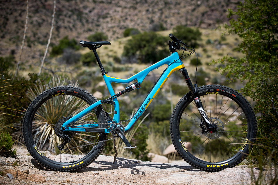 We opted for Maxxis Minions with Double Down casings mounted to Whiskey's new No. 9 41W Carbon Trail rims for our test bikes, but other than that, this GX-spec'd puppy is stock.