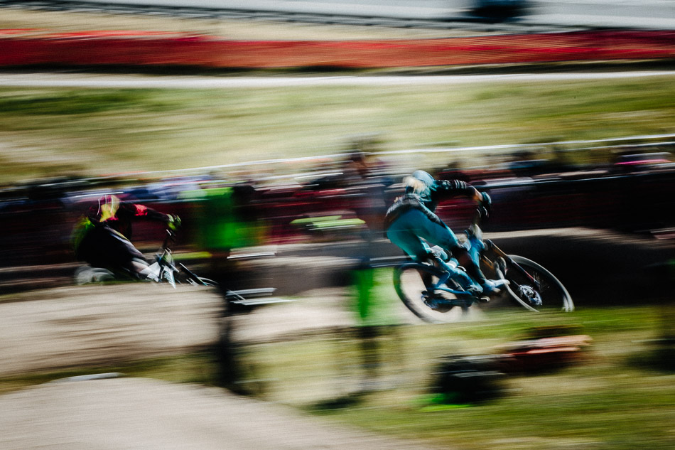 The 2014 Sea Otter Classic dual-slalom champion Cody Kelley (right), ground down talented riders such as Spain's Iago Garay on his way to a sixth-place finish.