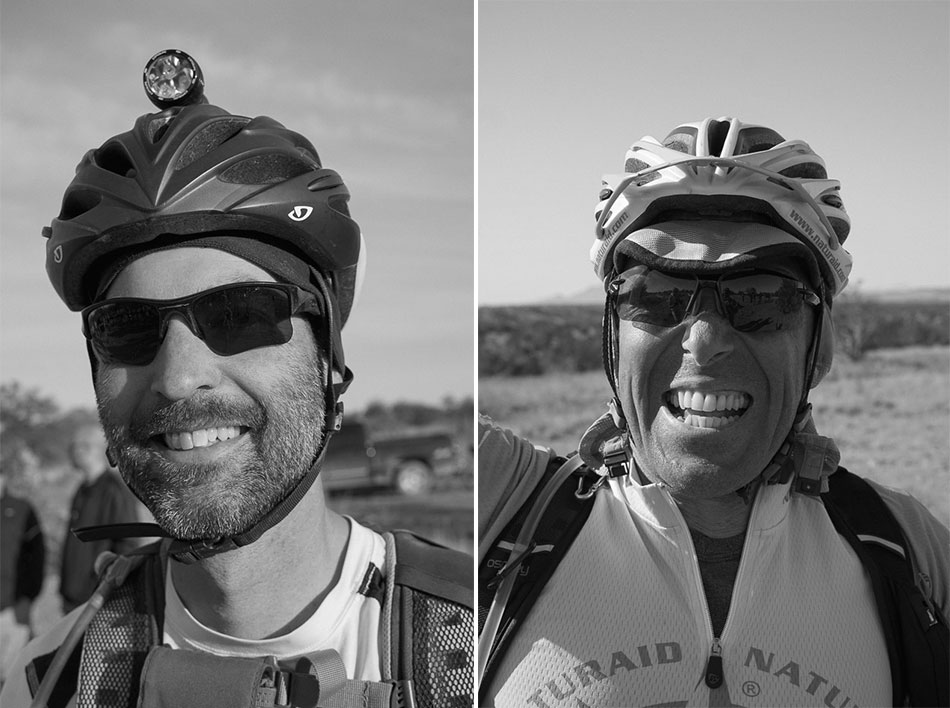 John Schilling, of Queen Creek, Arizona, is likely the only cyclist to have ridden every bike-legal inch of the Arizona Trail; Maurizio Doro, of Capoterra, Italy, could not hide his enthusiasm during the first hours of his ride across Arizona.