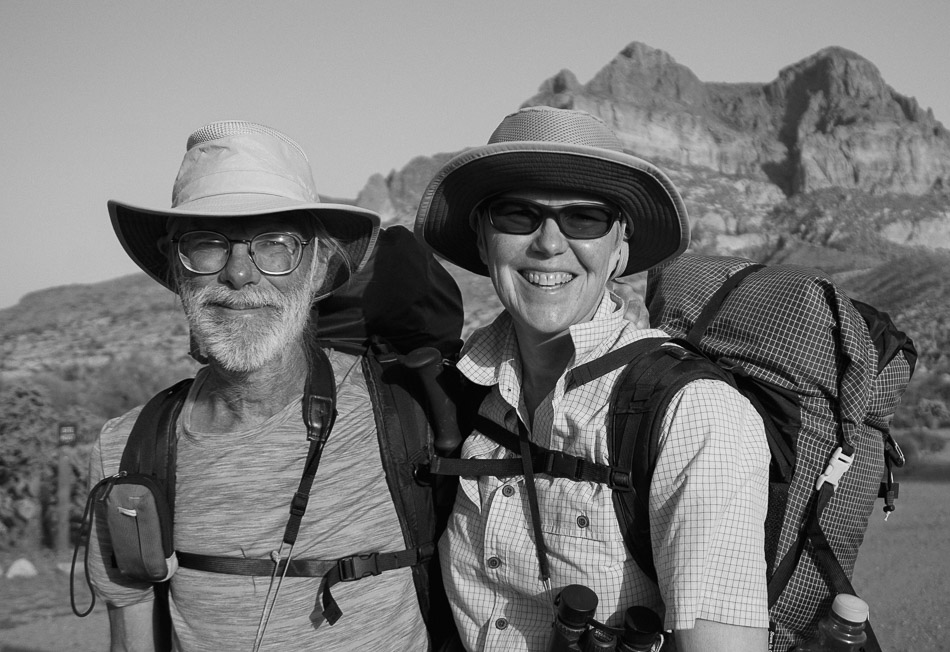 A pair of through-hikers beneath Picketpost Mountain marveled at the bird diversity and scenery of the Arizona Trail. These two hikers are also veterans of the Great Divide Mountain Bike Route.
