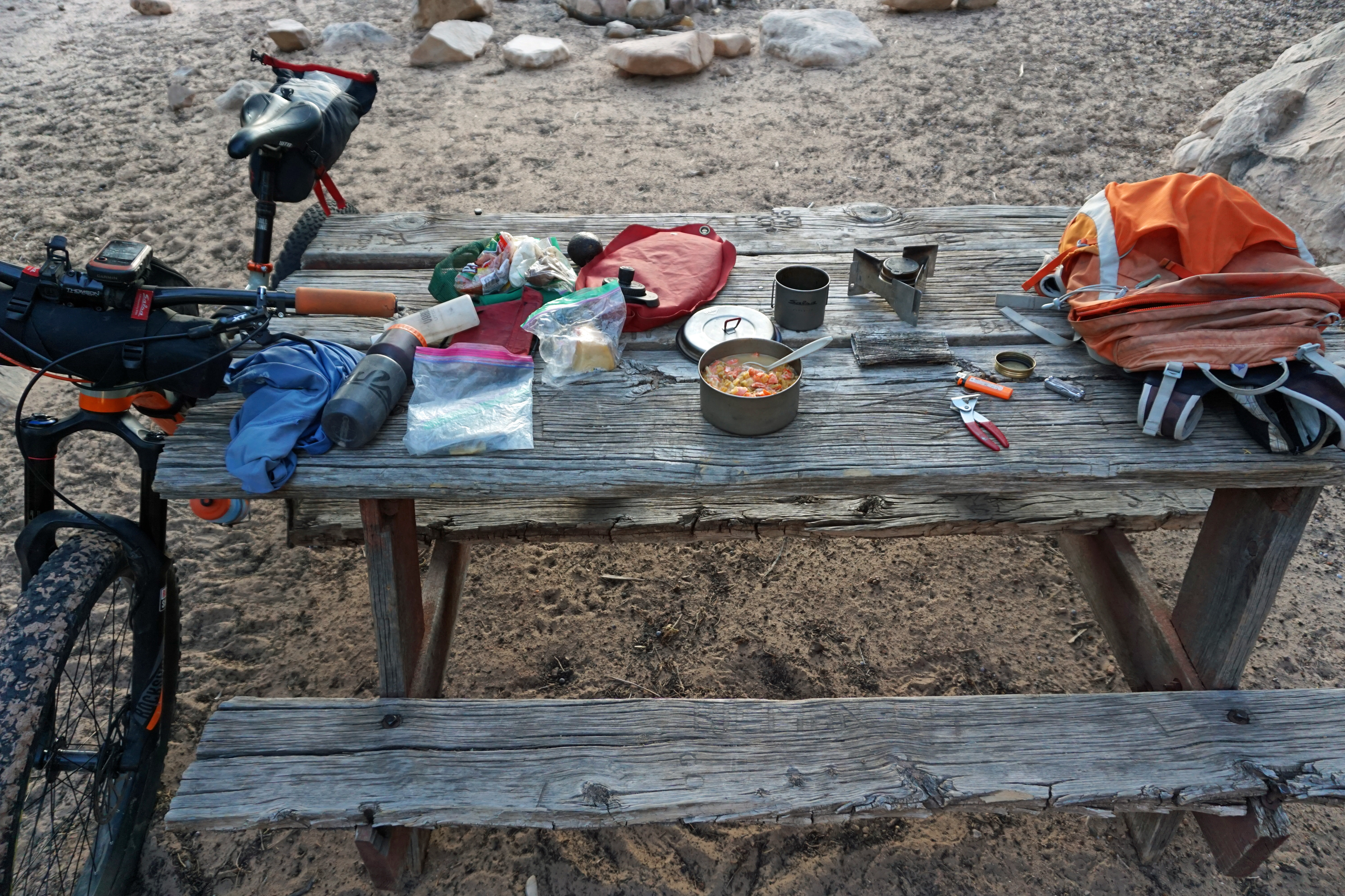 Backcountry dinner at its finest: sweet potatoes, smoked salmon and cheese.