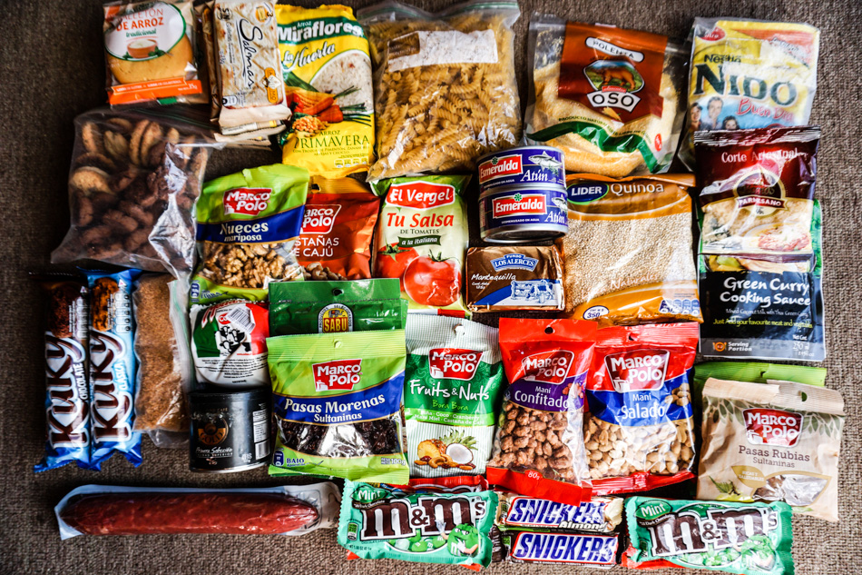 Four long days' worth of food for two people after provisioning at a grocery store. Photos: Kurt Refsnider
