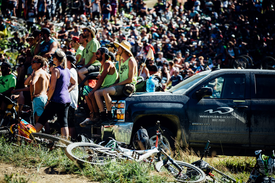 Every year, the crowd on hand for the Crankworx Whistler Whip-Off World Championships gets bigger—and rowdier. There were so many spectators in the field next to the Whistler Mountain Bike Park's Crabapple Hits that riders were having a hard time pushing through the crowd on their way back to the top of the jumps. Photo: Anthony Smith
