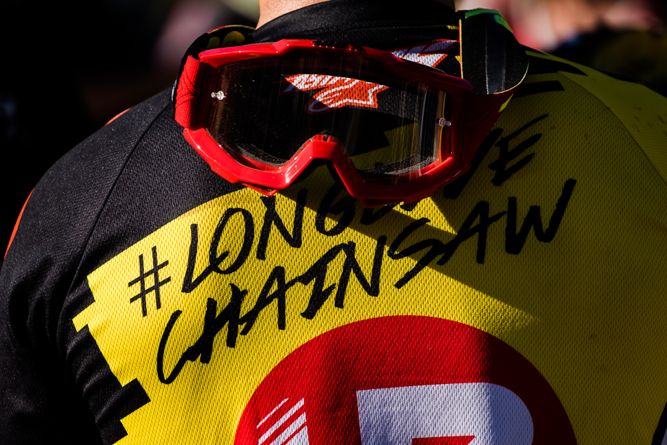 This year has been a poignant one for the global mountain-bike community, with the loss of two of our finest: Kelly 'McGazza' McGarry and Stevie 'The Canadian Chainsaw' Smith, the latter of which won last year's Air DH race. Many of this year's racers had the #LongLiveChainsaw hashtag emblazoned on their jerseys—and this year's third-place finisher, Mick Hannah, was no exception.