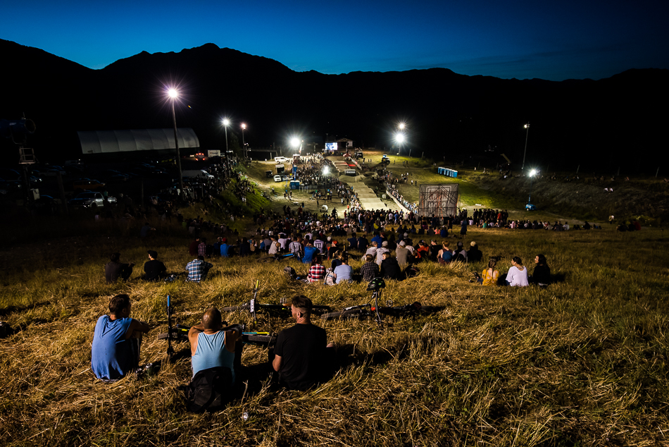 With ample lighting and a full moon out, the atmosphere was perfect for some pump-track excitement. Photo: Bruno Long