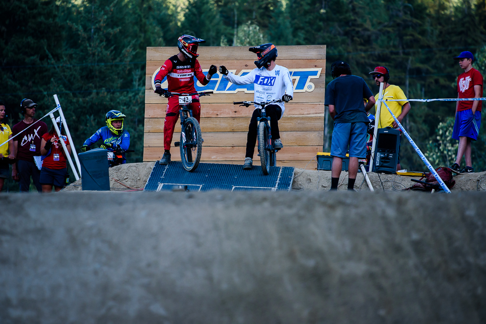 After a hard day of fighting through the heats, all Walker Shaw and Bas van Steenbergen could muster was this fist-bump before the bronze-medal heat. Photo: Bruno Long