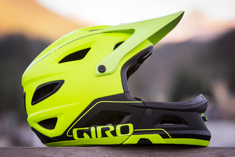 The Switchblade masquerades as a normal downhill helmet, with the buttons on the bottom of the chin bar giving a subtle hint of just how enduro it can get.