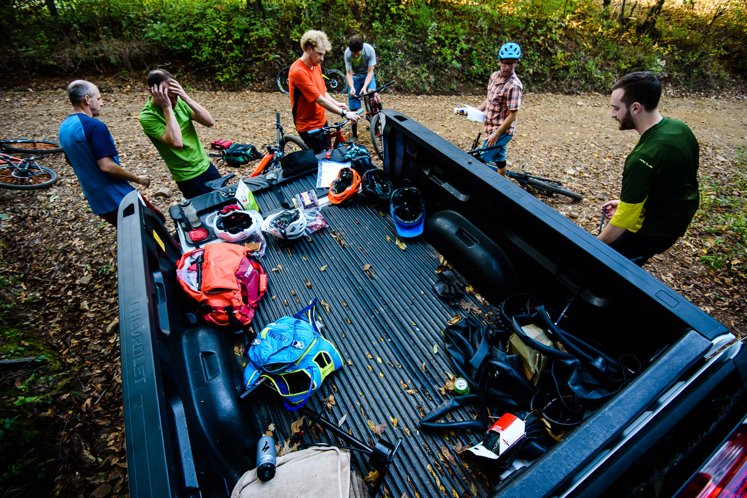 Smashing out one test loop after another can be tiring business, so it helps to have a trusty Chevy pickup at the trailhead for snacks and sustenance while completing forms and swapping out bikes.