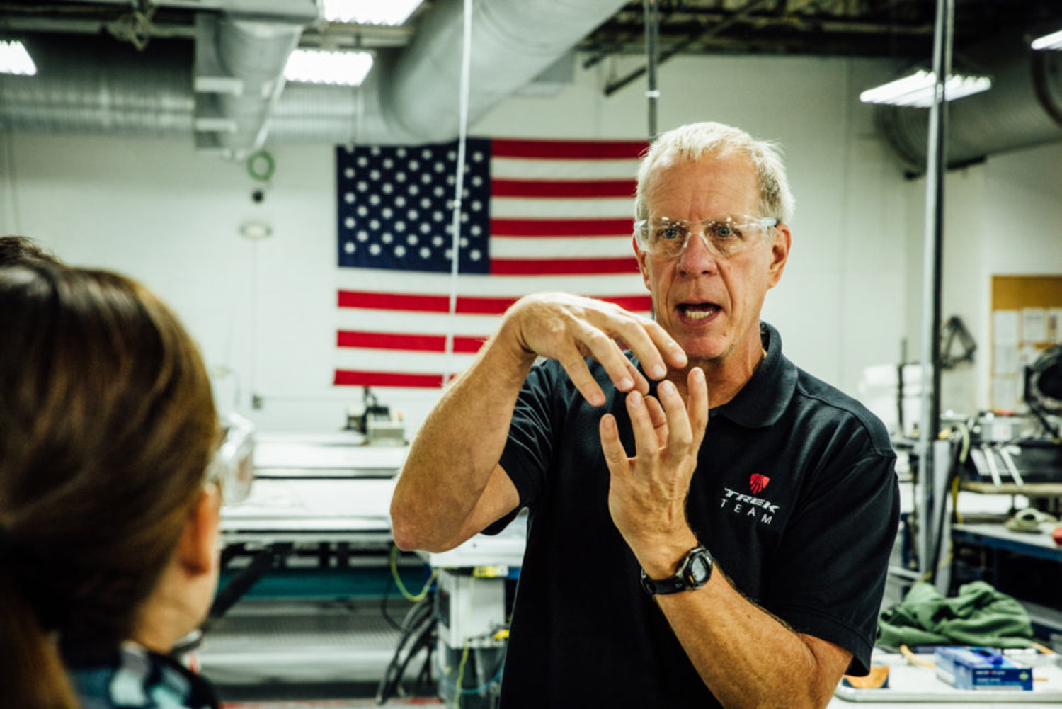 Manufacturing engineer Jim Colegrove in his element during the factory tour. Colegrove joined Trek in 1990 and helped develop Trek's first carbon fiber frame.