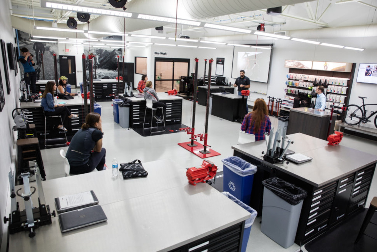 Inside the new Trek Certified Service classroom, where Trek is offering scholarships to try to draw more female mechanics into the fold.