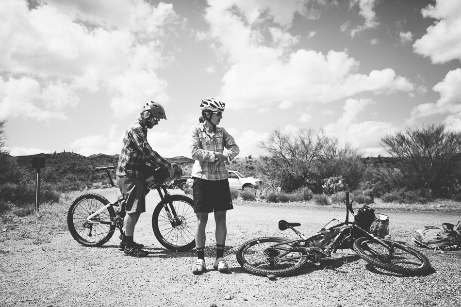 Scott and Eszter gear up for a bikepacking trip on the Arizona Trail earlier this year. Photo: Anthony Smith