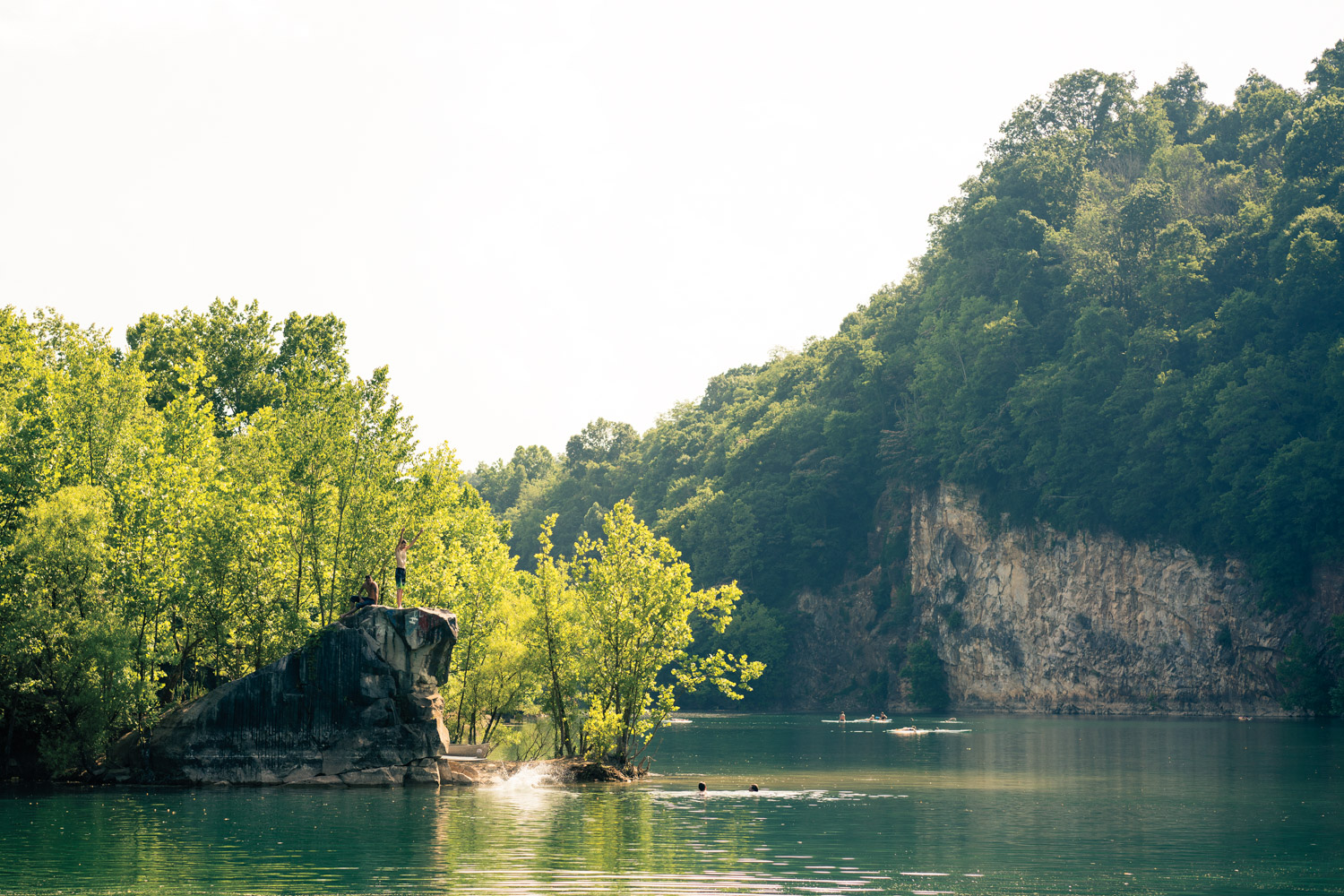 Jumping off the rock at Mead's Lake Quarry.