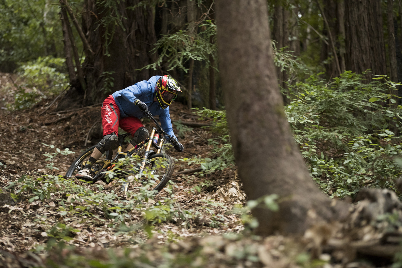 Minnaar ripping through the forest of Santa Cruz, CA. Photo: Gary Perkin